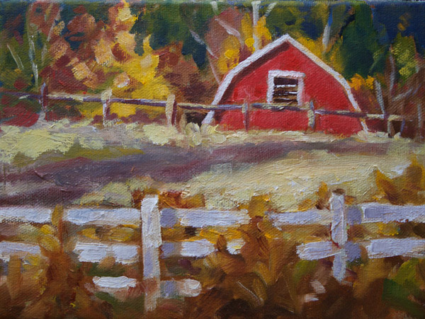 6 x 8 oil painting of barn in Castlegar by Mirja Vahala.
