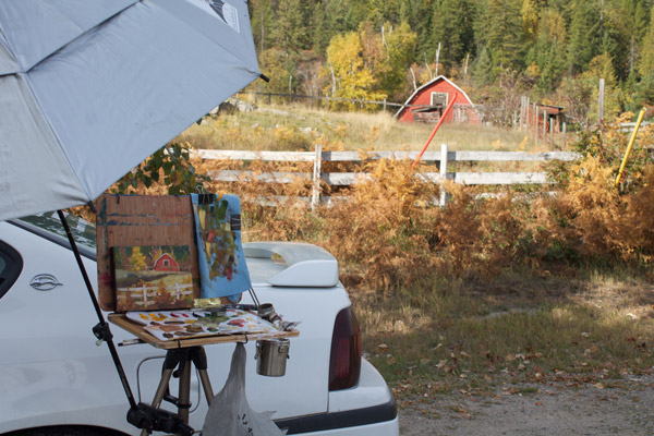 Barn-plein-air-painting-setup-car
