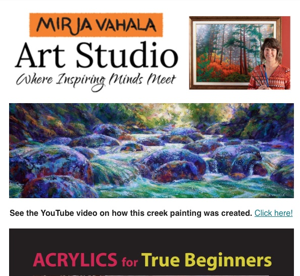 Participant Art Gallery, YouTube and Art Blog Newsletter